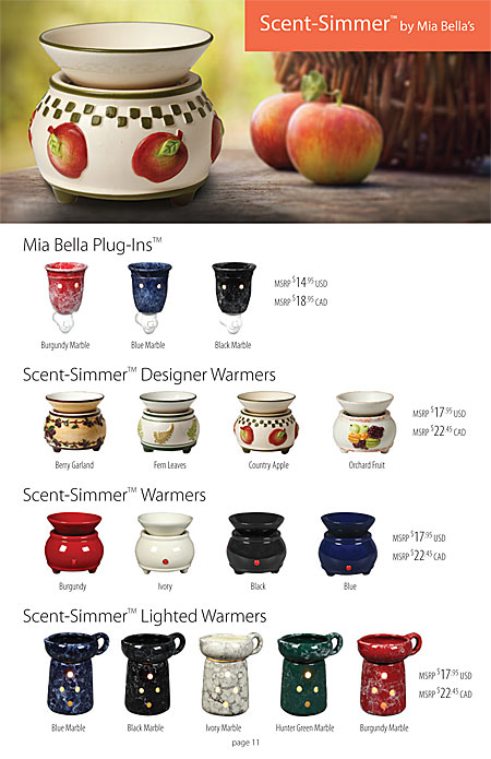 Mia Bella's Hand Painted Scent Simmer Wax Melters Catalog Page 11