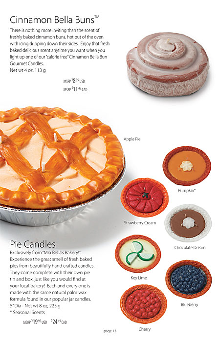 Mia Bella's Cinnamon Bella Buns and Hand Carved Pie Candles Catalog Page 13