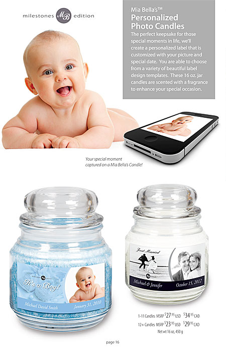 Mia Bella's Personalized Photo Candles for Weddings, Birthdays, Anniversaries Catalog Page 16