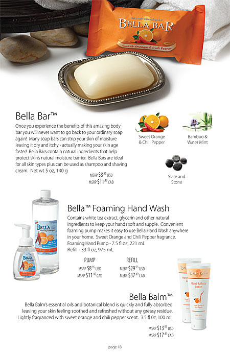 Mia Bella's Bella Bar natural soap and body bar, foaming hand wash, hand lotion, foot lotion Catalog Page 18