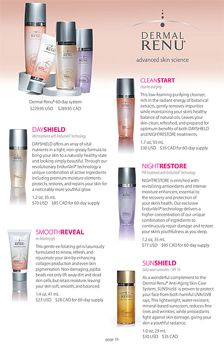 Mia Bella's Dermal Renu skin care system dayshield, smoothreveal, cleanstart, nightrestore, sunshield Catalog Page 19