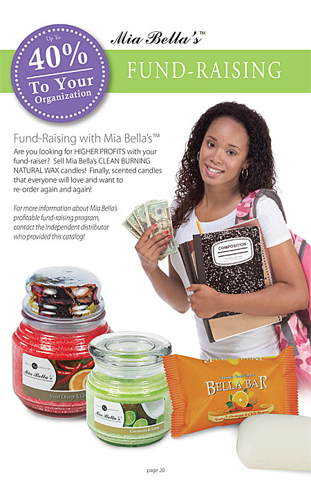 Mia Bella's fundraising for non-profits, schools, day care centers, 40% profit, scented candles, Catalog Page 20