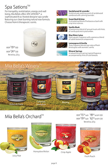 Mia Bella's Sculpted Hand Carved Signature Candles Catalog Page 9
