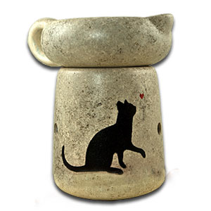 Handpainted Cat Simmer Pot With Bulb.